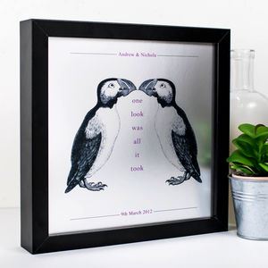 Love Gift; 'One Look Was All It Took' Puffins Print - posters & prints