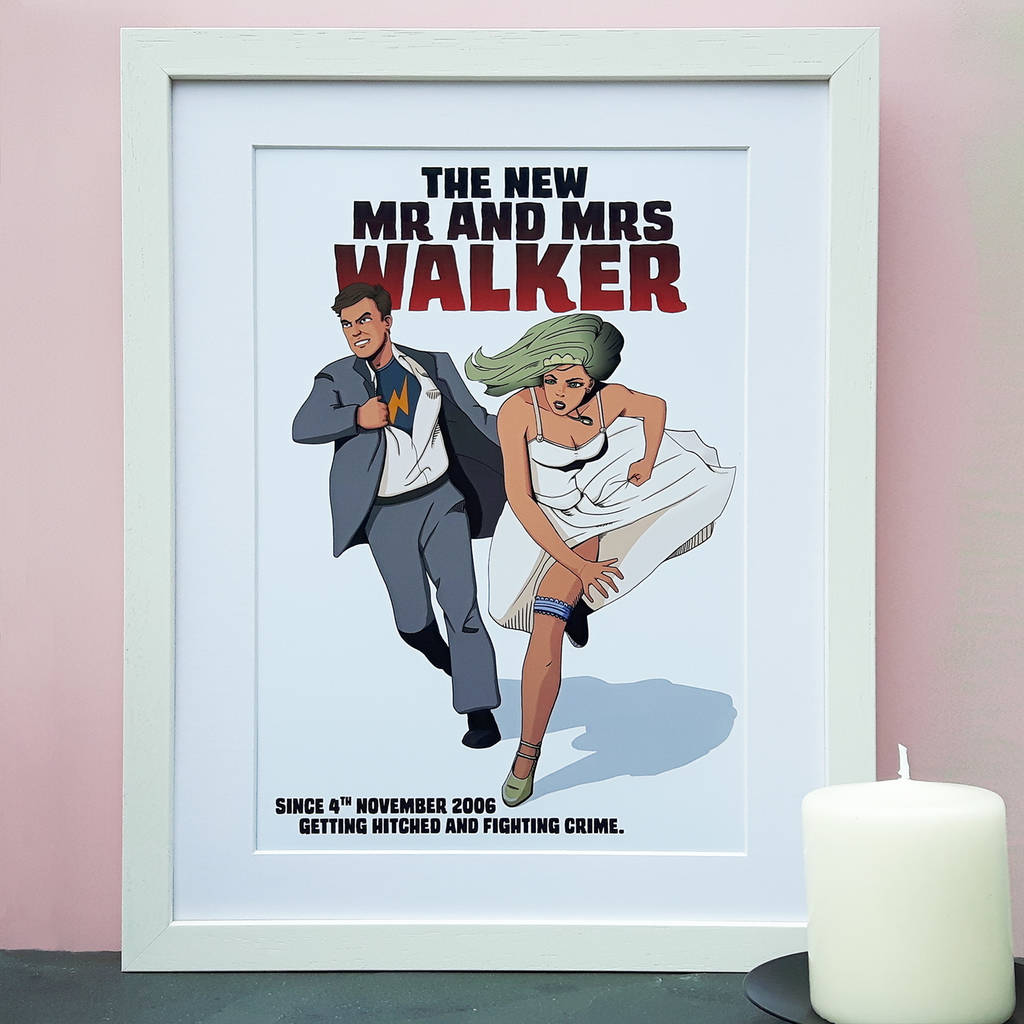 Personalised Heroes Wedding Day Comic Book Style Print