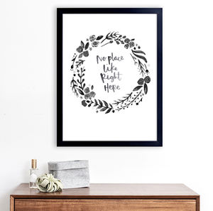 No Place Like Home Hand Lettered Wreath Print