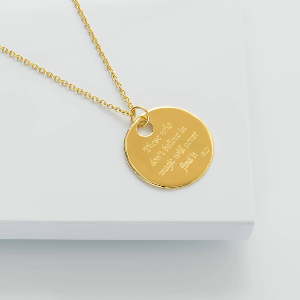 Deborah Blyth Jewellery Gold Personalised Roald Dahl Necklace DLqbLdmry
