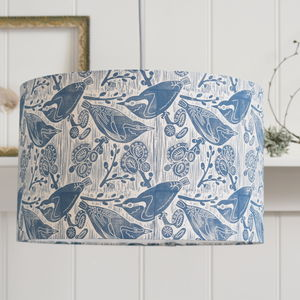 Nuthatches And Willow Lampshade Block Printed By Hand - lampshades