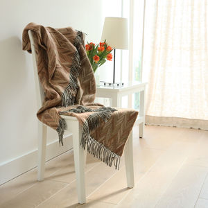 Merino Wool Throws Marcello Brown, Orange - throws, blankets & fabric