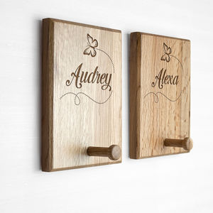 Childs Personalised Oak Coat Hook - home accessories