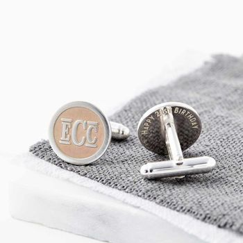 Rose Gold And Silver Monogram Initials Cufflinks