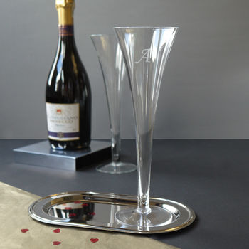 A Pair Of Glass Trumpet Champagne Flutes