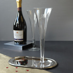 A Pair Of Glass Trumpet Champagne Flutes - table decorations