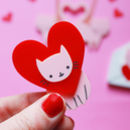Valentines Cat Brooch