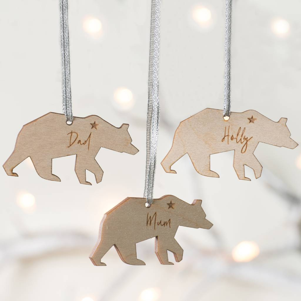 Personalised Polar Bear Family Christmas Decorations