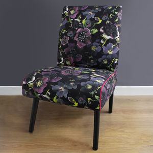 Dark Floral Botanical Chair - furniture