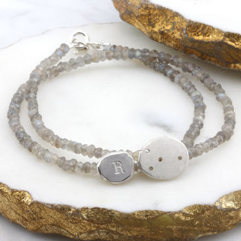 Personalised Gemstone Bracelet with Initial
