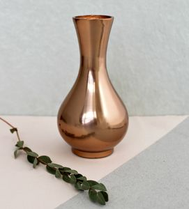 Copper Teardrop Vase - living room