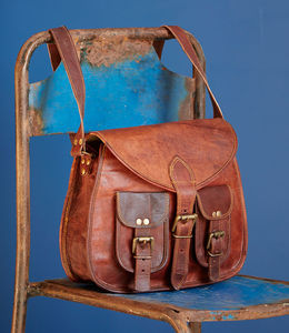 Brown Leather Satchel Style Saddle Bag - bags