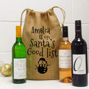 Santa's Good List Wine Bottle Gift Bag
