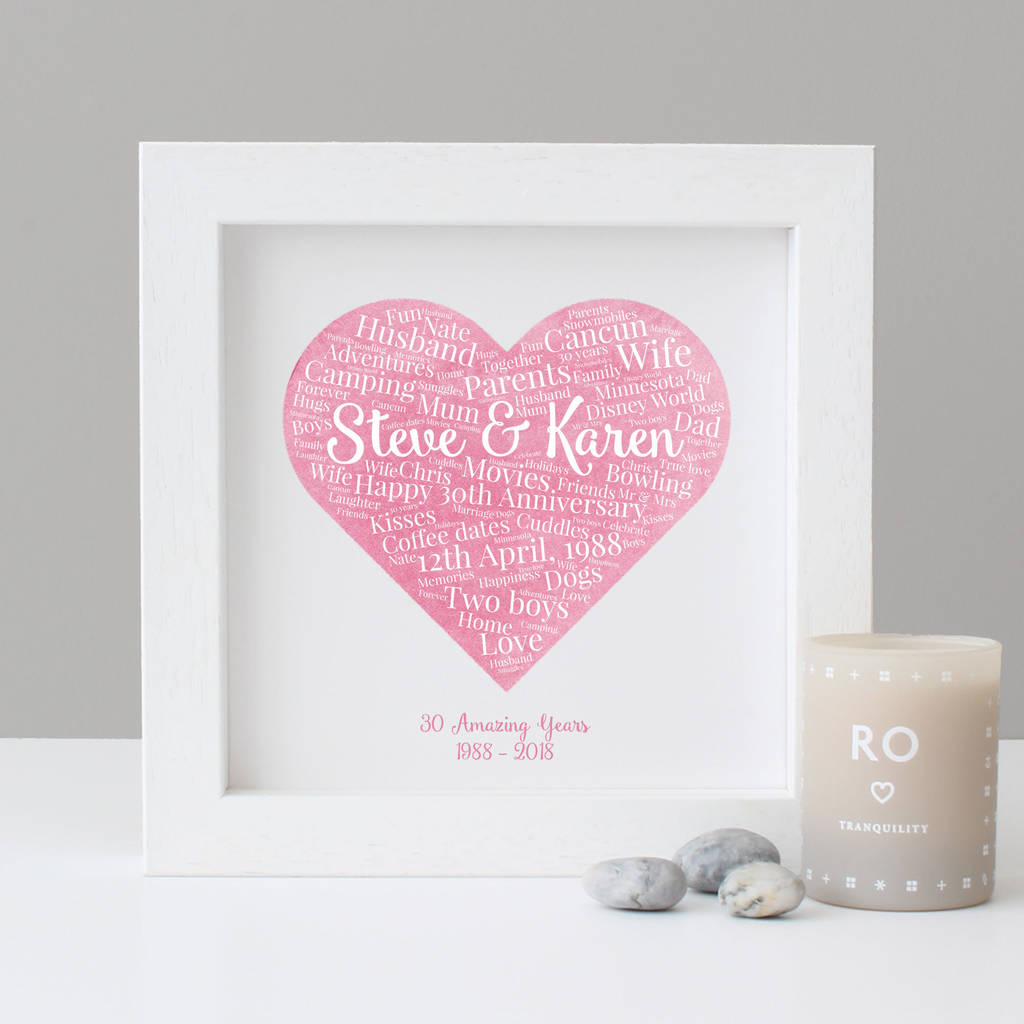 personalised 30th anniversary watercolour gift by hope and love ...