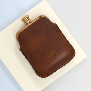 Personalised Copper Hip Flask With Leather Sleeve