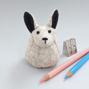 Handmade Hector The Arctic Hare Paperweight - desk accessories