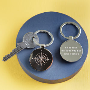 Personalised Compass Keyring - men's accessories