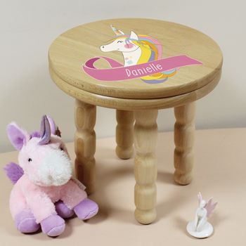 Personalised Unicorn Wooden Childrens Stool