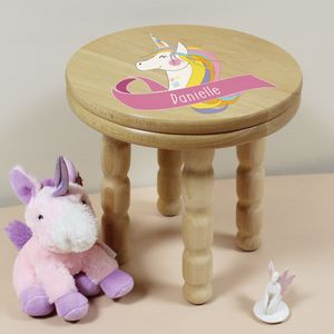 Personalised Unicorn Wooden Childrens Stool - whatsnew