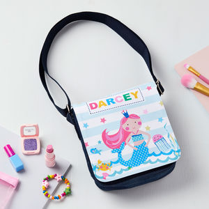 Girls Personalised Mermaid Shoulder Bag