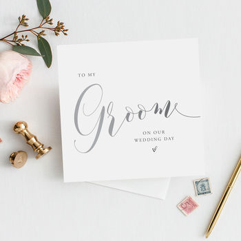 To My Groom Card | Silver Effect Wedding Card