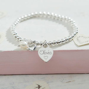Girl's Personalised Sterling Silver Ball Bracelet