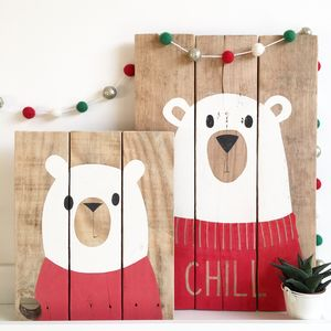 Oh Hello Polar Bear On Reclaimed Wood - children's pictures & paintings