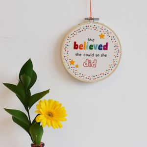 Inspirational Quote Hoop Art 'She Believed She Could' - mixed media & collage