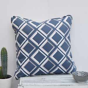 Lattice Geometric Blue Handmade Cushion