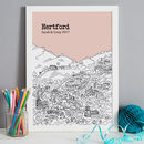 Hertford print in colour 2 Blush, A3 size framed