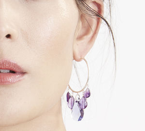 Emilia Amethyst And Swarovski Hoop Silver Earrings