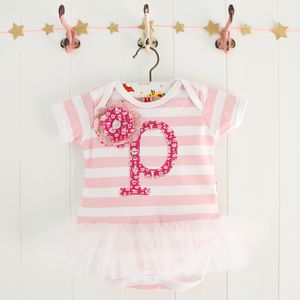 Personalised Letter Baby Stripe Tutu Bodysuit - clothing