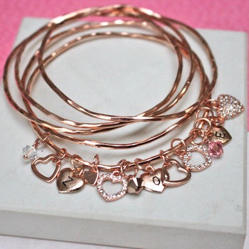 Rose Gold Diamante Heart Charm Bangle Set