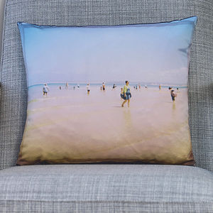 'Picture Postcard' Luxury Handmade Photo Cushion - bedroom