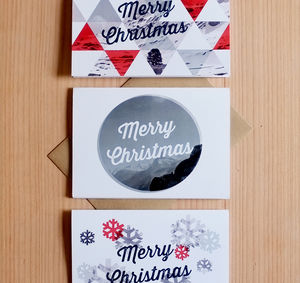 Set Of Six Modern Christmas Cards