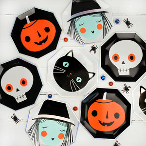 Halloween Face Party Plates - halloween