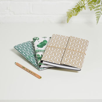 Recycled Tropical Leaf And Geometric A5 Notebook