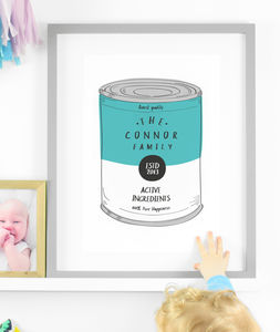 Personalised Gift For Family Print Soup Pop Art - prints for families