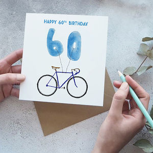 60th Birthday Bike With Balloons Card - 60th birthday cards