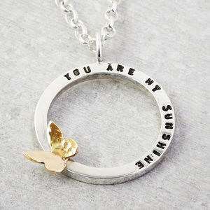 Tiny Text Personalised Necklace Solid Gold Butterfly - necklaces & pendants