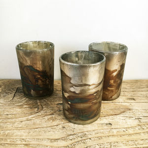Gold And Blue Marbled Votive