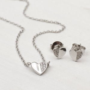 Sterling Silver And Cubic Zirconia Heart Necklace