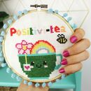 Rainbow Positivi Tea Cross Stitch Kit For Adults
