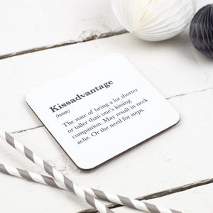 Funny Valentine's 'Kissadvantage' Coaster For Couples - placemats & coasters