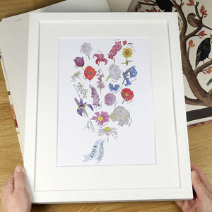 Bunch Of Flowers Personalised Print