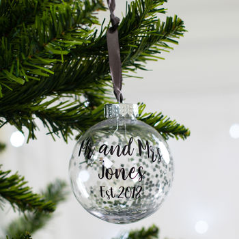Personalised Mr And Mrs Glitter Christmas Bauble