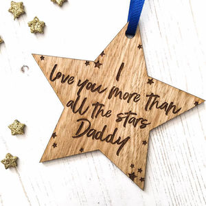 'Love You More Than All The Stars' Keepsake Star - hanging decorations