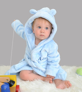 Personalised Blue Fleece Baby Robe With Ears - winter sale