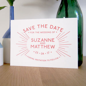 Retro Starburst Wedding Save The Date Card - wedding stationery