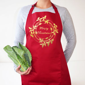 Holly Wreath Christmas Apron